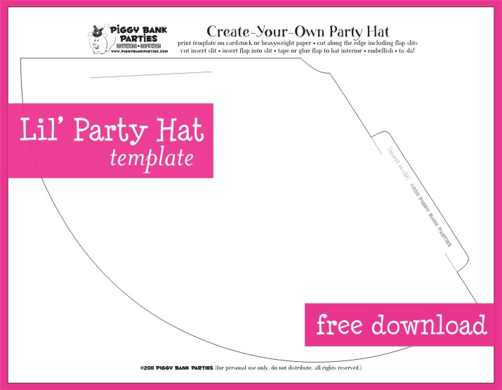 Party Hat Template. Free Printable St Birthday Party Hat Template ...