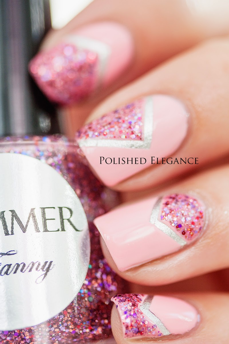 Pink chevron nail art manicure