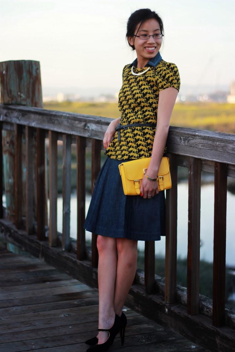 pretty little liars top leopard peplum petticoat alley chambray dress