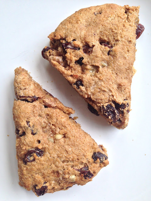 Whole Wheat Scones with Raisins and Walnuts
