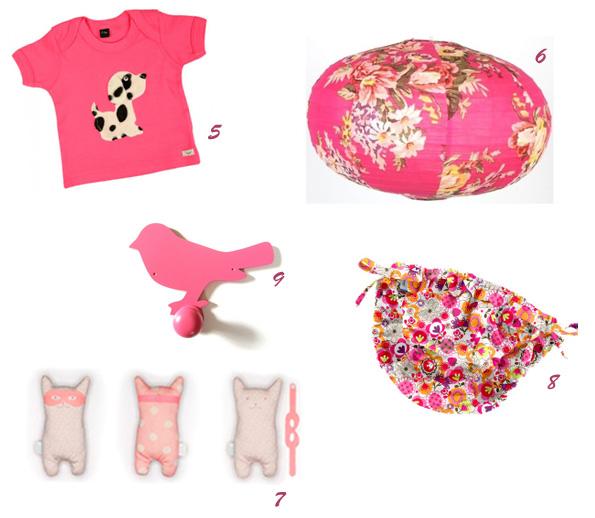 articles roses : Tee-shirt bébé, lampion, Doudou, Maillot de bain, Porte-manteaux