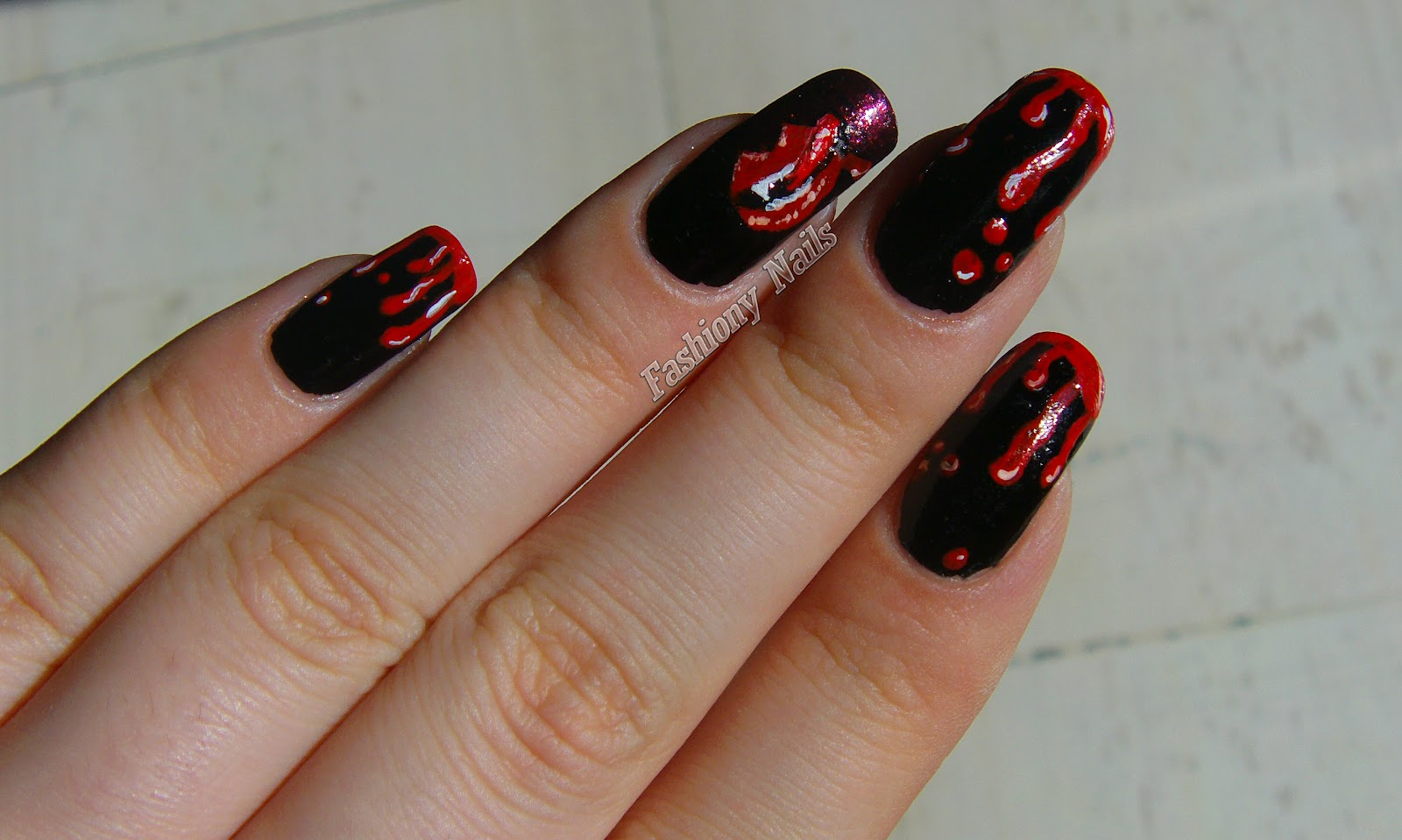 Halloween nail art challenge blood fashiony nails beauty blog halloween nail art blood true blood prinsesfo Choice Image