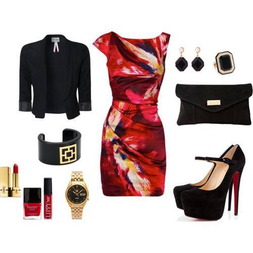 Black short jacket, colorful gown, purse, high heel shoes and other accessories for ladies
