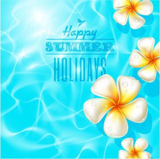 光に反射する波間の花ビラ Beautiful summer holiday vector background イラスト素材