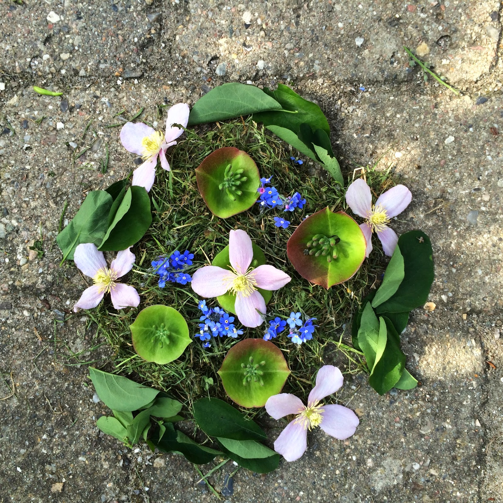 Landart; natural mandalas made by kids at artschool in Horsens