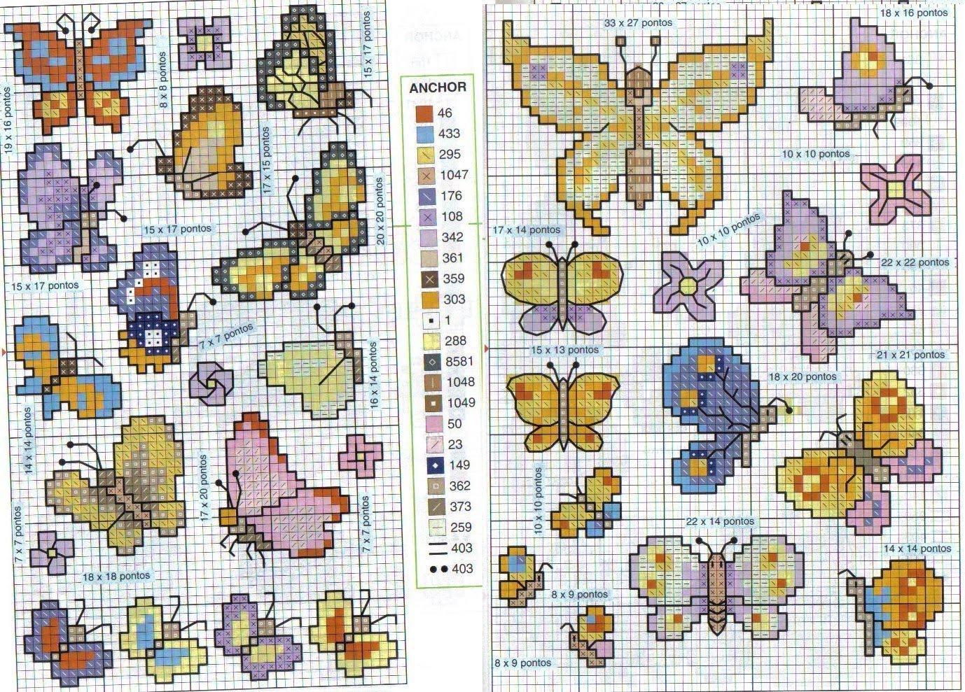 Cantinho da jana gr ficos de ponto cruz de borboletas for Farfalle punto a croce