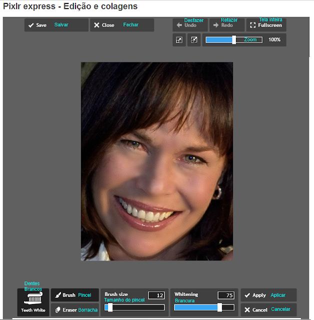 Pixlr Express - Funções e comandos de Dentes brancos