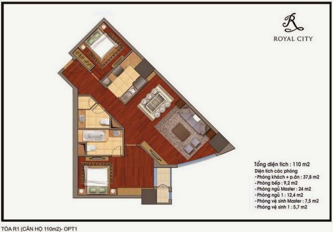 Chi tiết thiết kế căn hộ toà R1 chung cư Royal City diện tích 110 m2