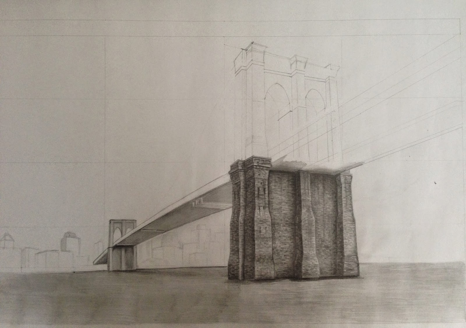 Architectural Drawings Of Bridges dreams of an architect: brooklyn bridge - pencil drawing