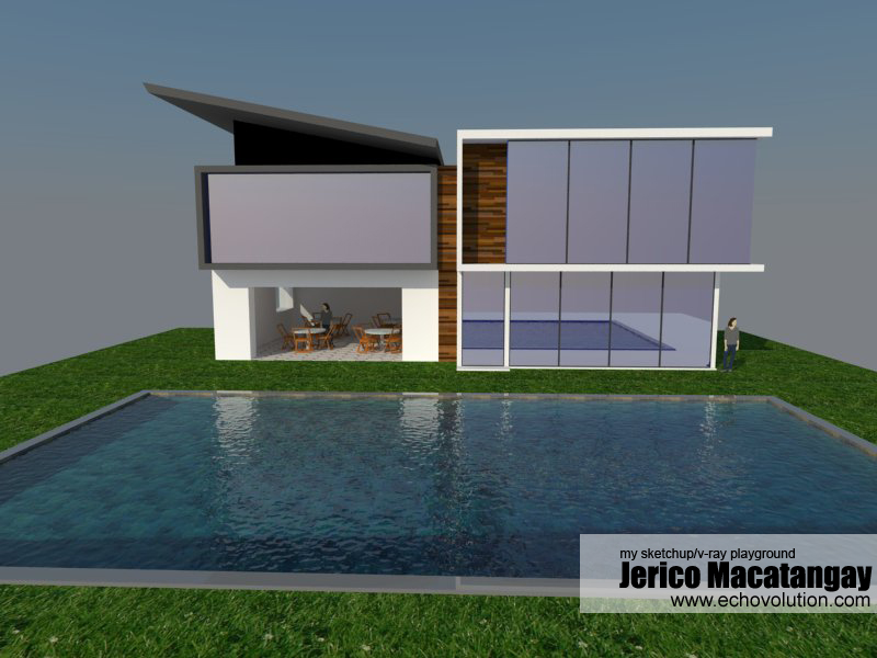 Modern house plans sketchup for Minimalist house sketchup