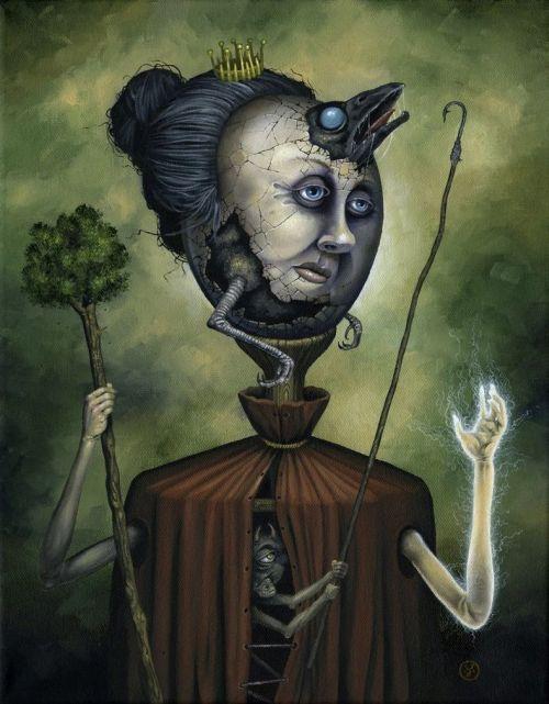 Jeff Christensen js4853 deviantart pinturas surreais sombrias Rainha dos bastões