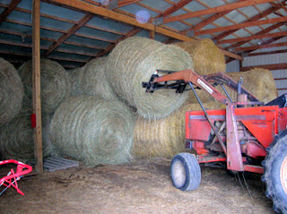 storing round bales in the barn 2