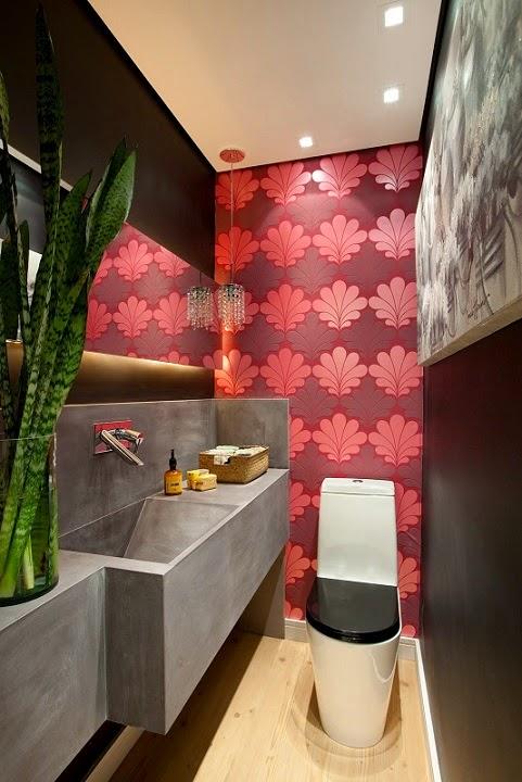 decorar lavabo pequeno:Nesse caso, para dar mais profundidade ao lavabo, foi aplicado cores