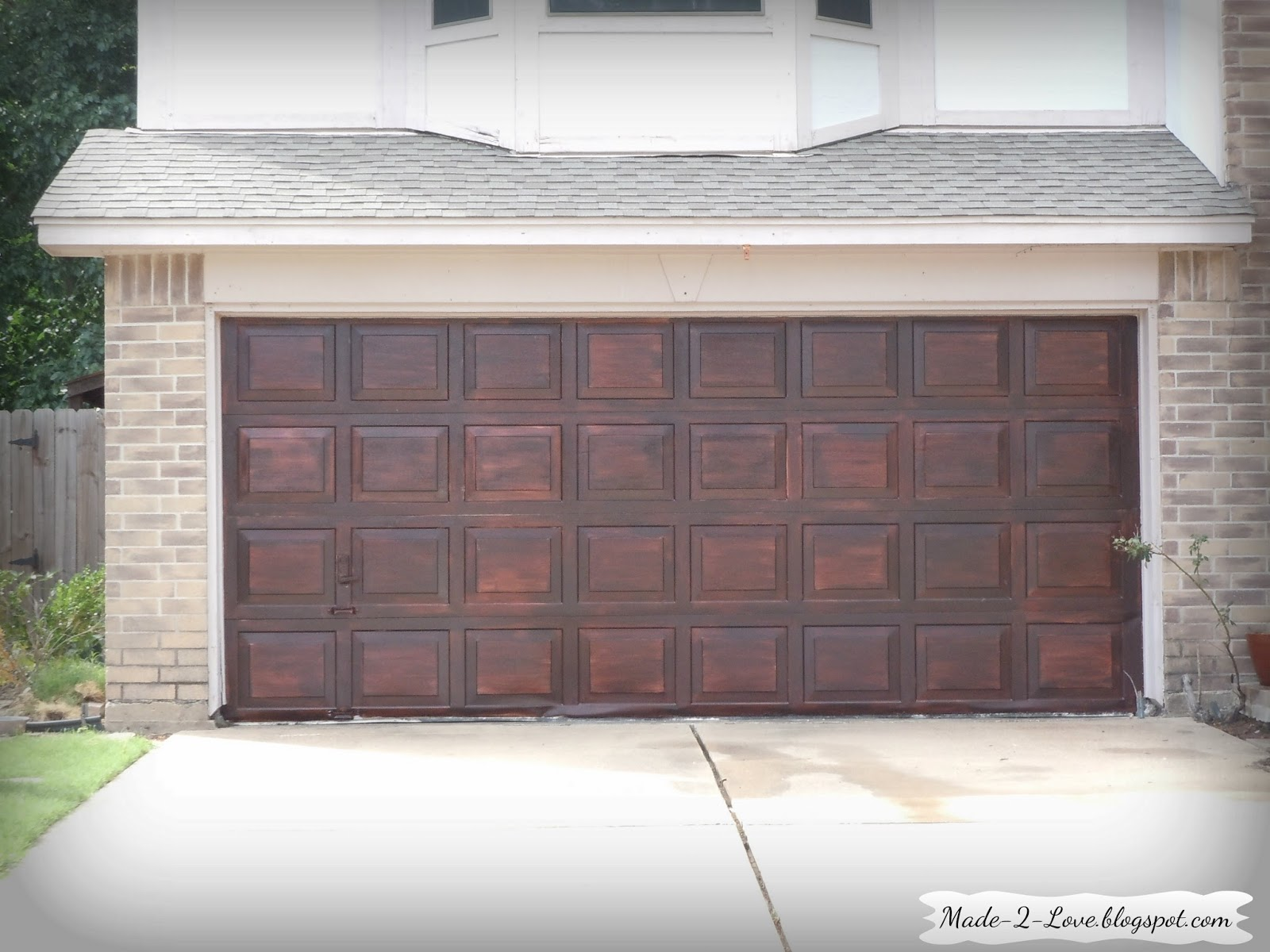 Made to love diy faux wooden garage door for Garage ad stains