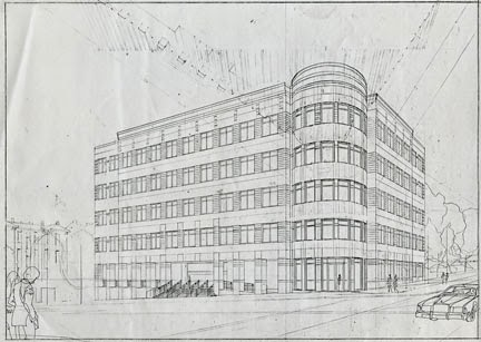 Eventually These Perspective Layouts Included Interiors And Exteriors, And  Projects Of Every Size. In This Image Of A Small Office Building You Can  See The ...