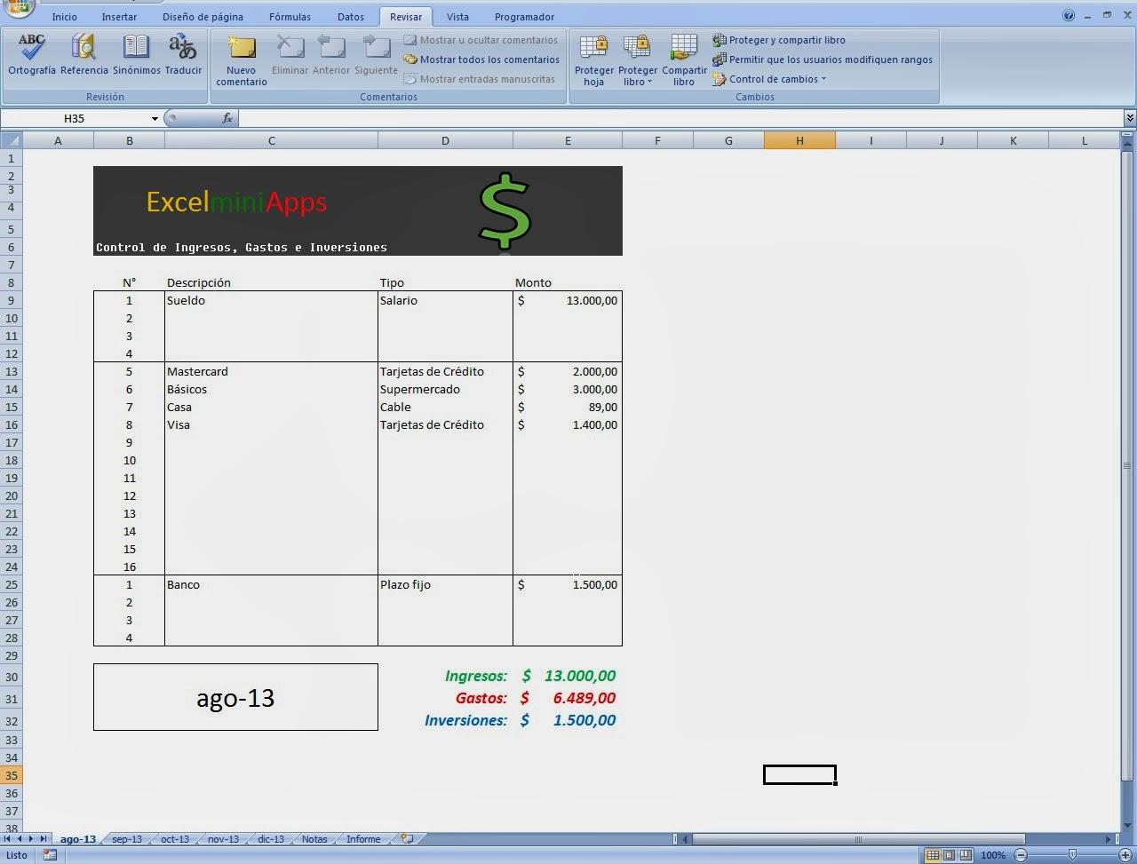 mini aplicaciones en Excel: Control de ingresos y egresos en Excel