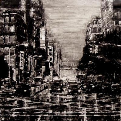 Rainy Night NYC Cityscape, Varick St Soho, New York City