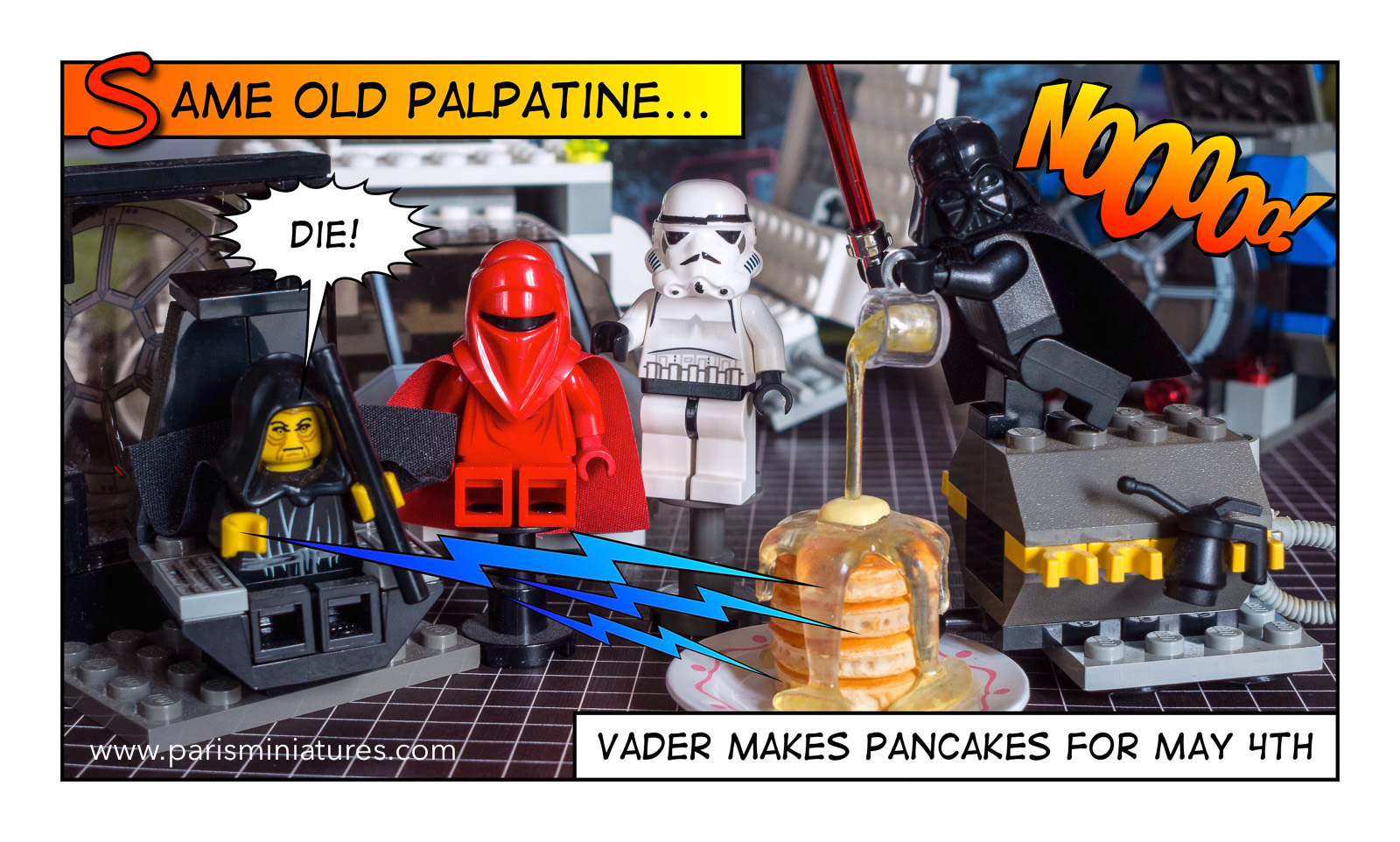 The LEGO Emperor and Vader have breakfast together for May the Fourth Star Wars Day