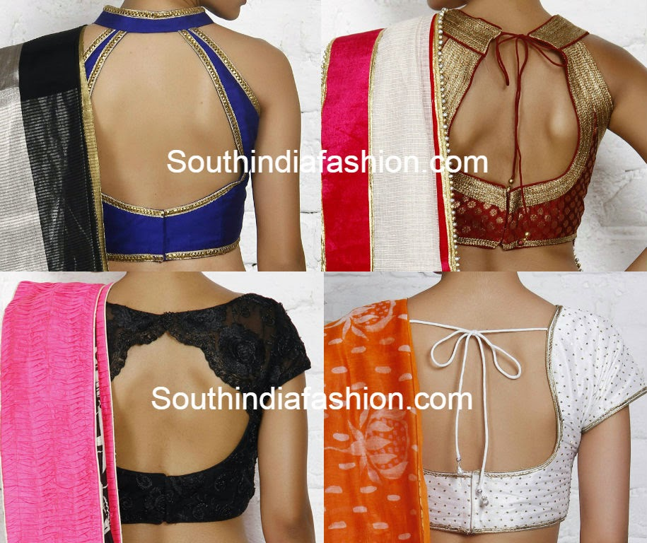 latest saree blouse neck designs