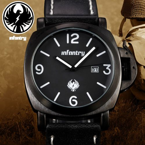 INFANTRY Date Black / White Quartz Brown Leather Mens Wrist Watch Fashion Gift