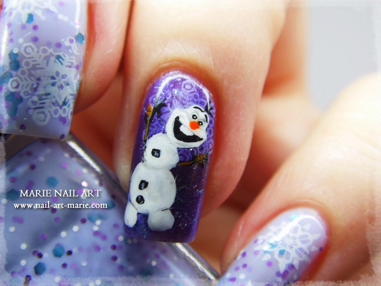 nail art reine des neige Olaf10