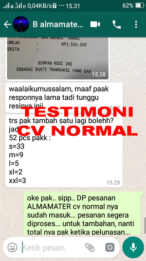 TESTIMONI PEMBELI JAS ALMAMATER CV NORMAL