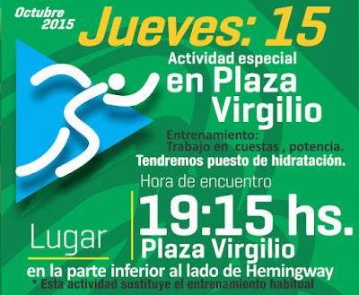 Entrenamiento gratuito de atletismo en cuestas y potencia (Plaza Virgilio, Montevideo, jue 15/oct/