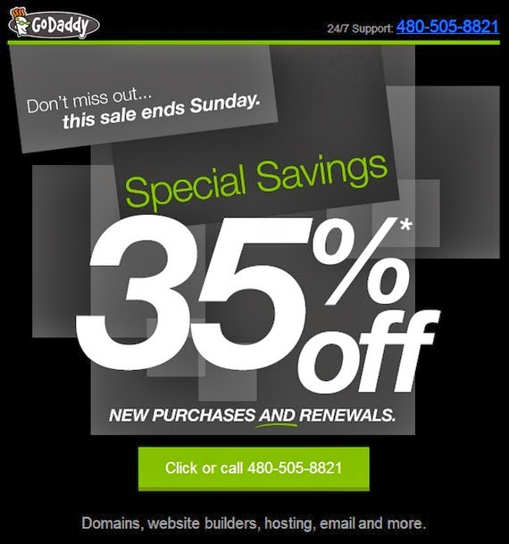 Godaddy coupon off 35%
