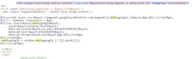 اضافة اعلانات جوجل ادسينس داخل مواضيع بلوجر