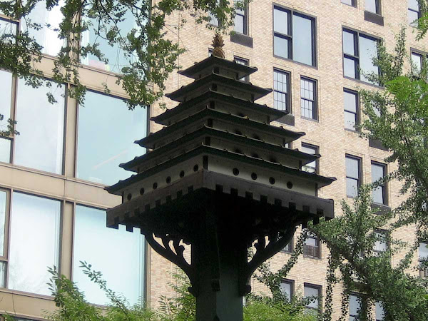 Luxury Pagoda Birdhouse - At the west end of Gramercy Park.