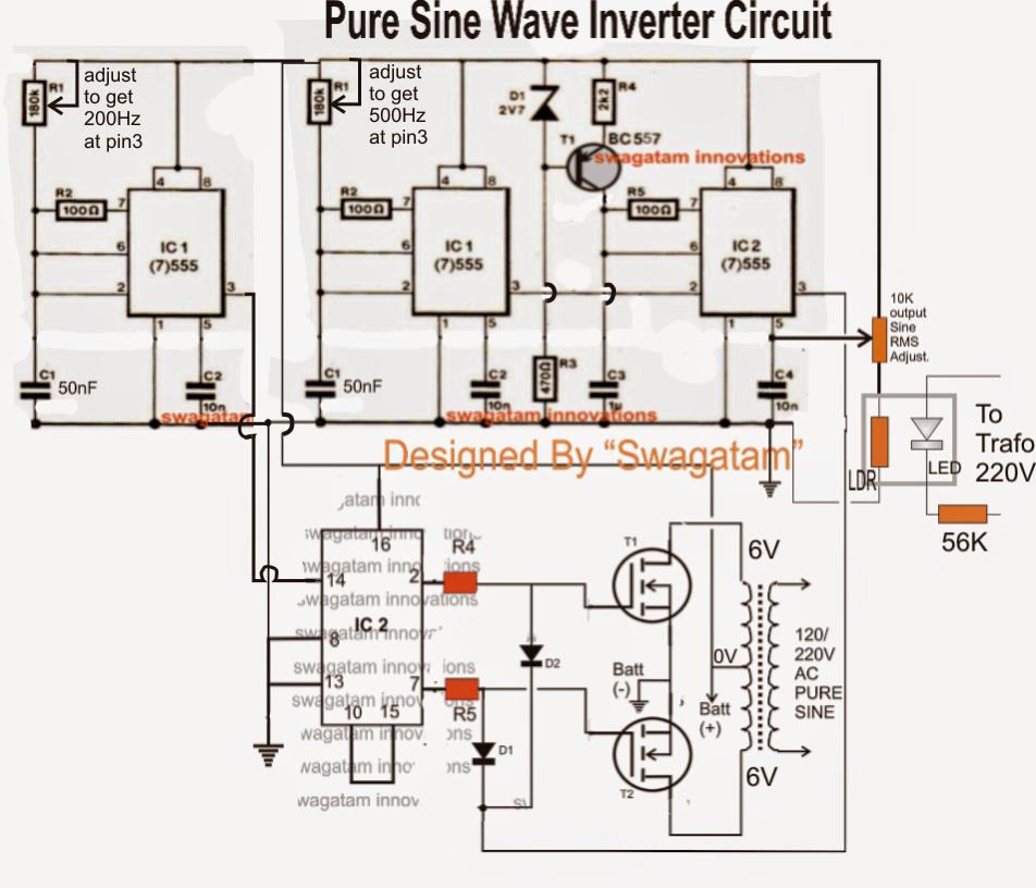 Make This 1Kva 1000 Watts Pure Sine Wave Inverter Circuit