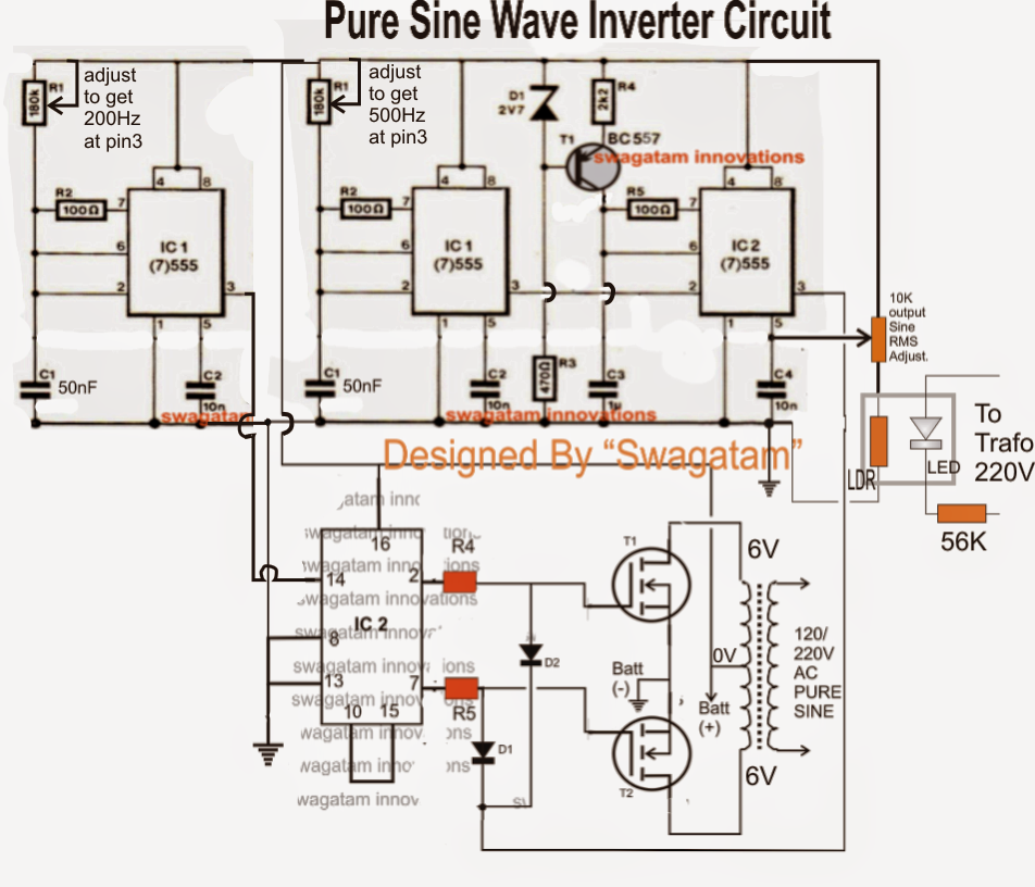 Pure Sine Wave Inverter  Using Ic 555