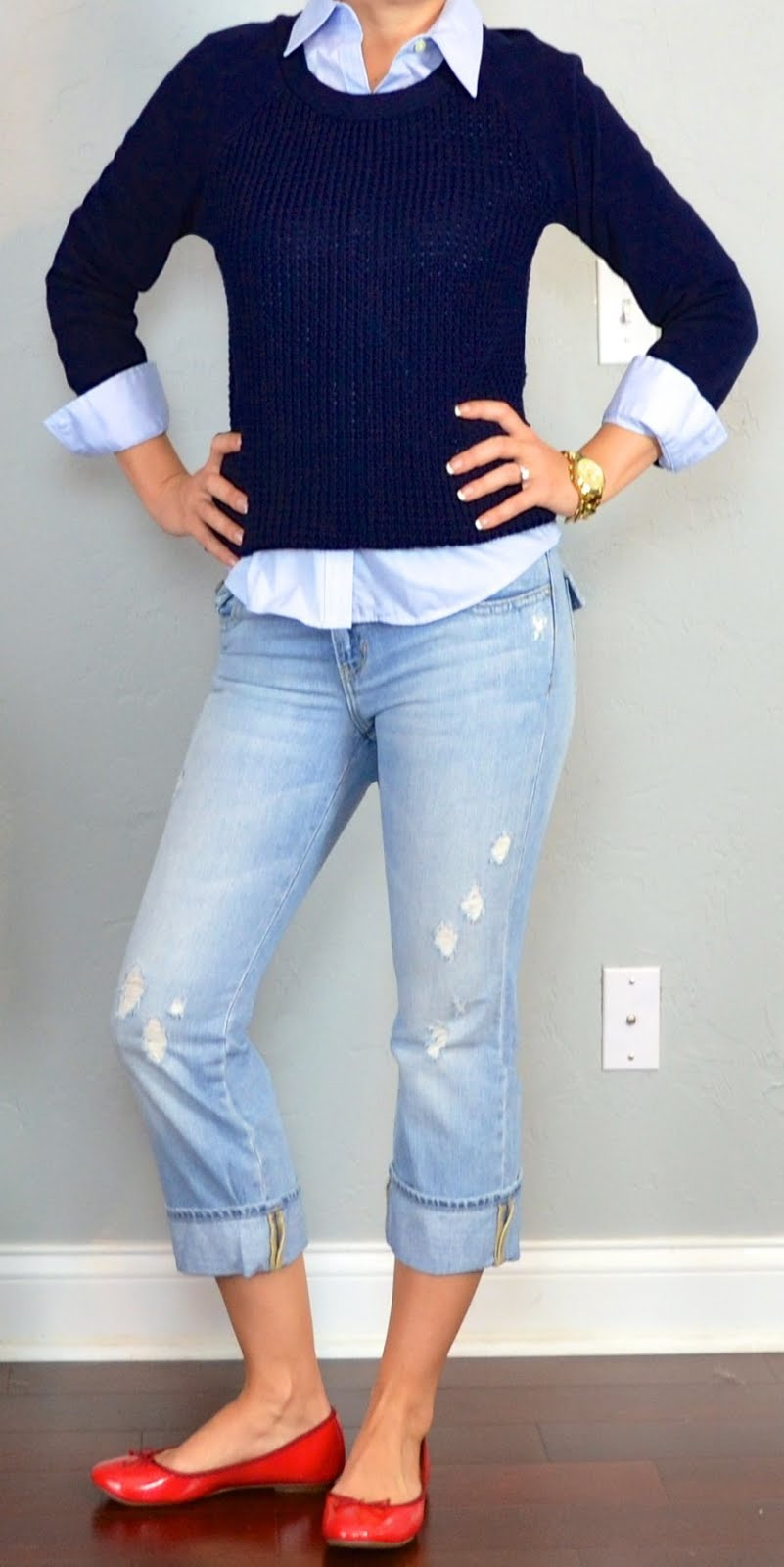 Outfit post navy knit sweater blue button down oxford shirt cropped light denim pants red ...