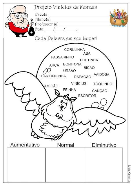Atividade Grau do Substantivo Projeto Vinícius de Moraes
