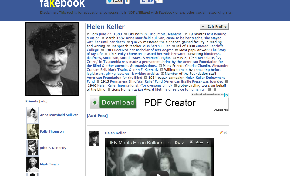 Page Edit The Profile Add Friends Posts And Comments Its Super Easy To Just Click Type Heres An Example Of A Fakebook For Helen Keller