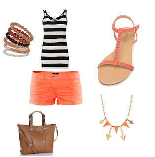 Summer Outfit with orange shorts