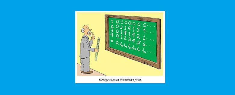 Imagen que alude a la prueba de Cantor de que el conjunto de los números reales no es numerable