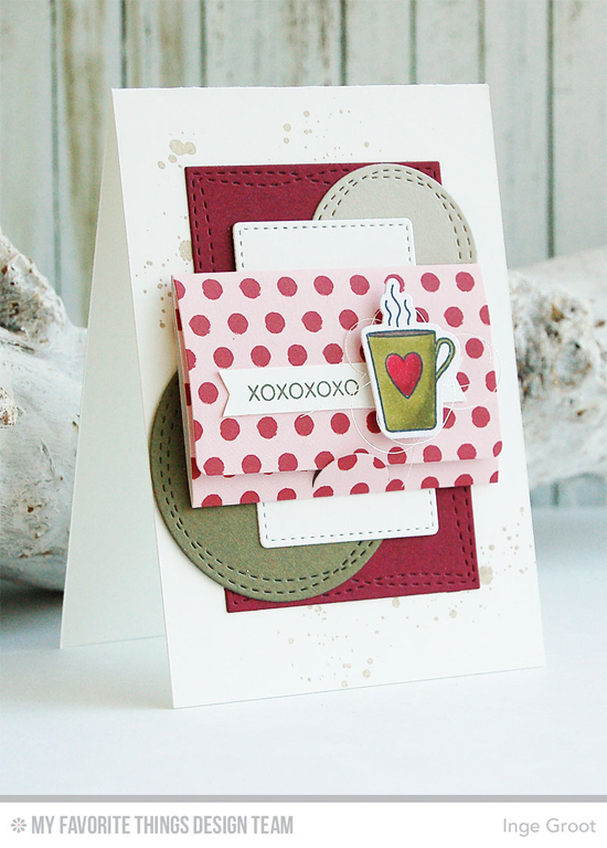 Coffee XOXO Card by Inge Groot featuring the Distressed Patterns and Lisa Johnson Designs All Heart stamp sets, Lisa Johnson Designs All Heart and Mini Note Die-namics, and the Wonky Stitch Circle STAX and Wonky Stitch Rectangle STAX Die-namics #mftstamps