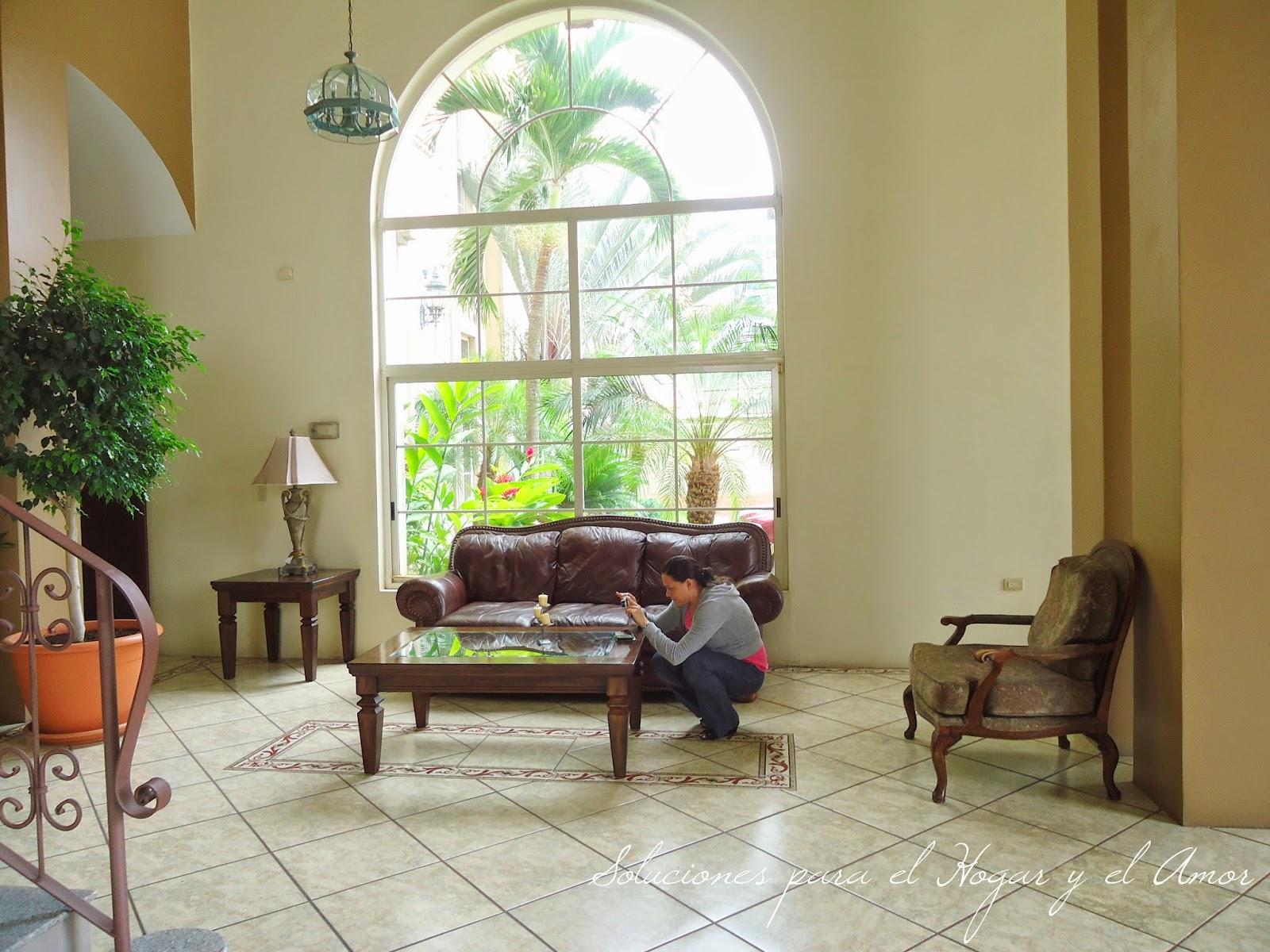 Sala, muebles, ventana grande, ventanal