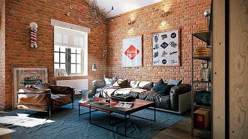 Marzua loft con paredes de ladrillo visto - Muebles con ladrillos ...