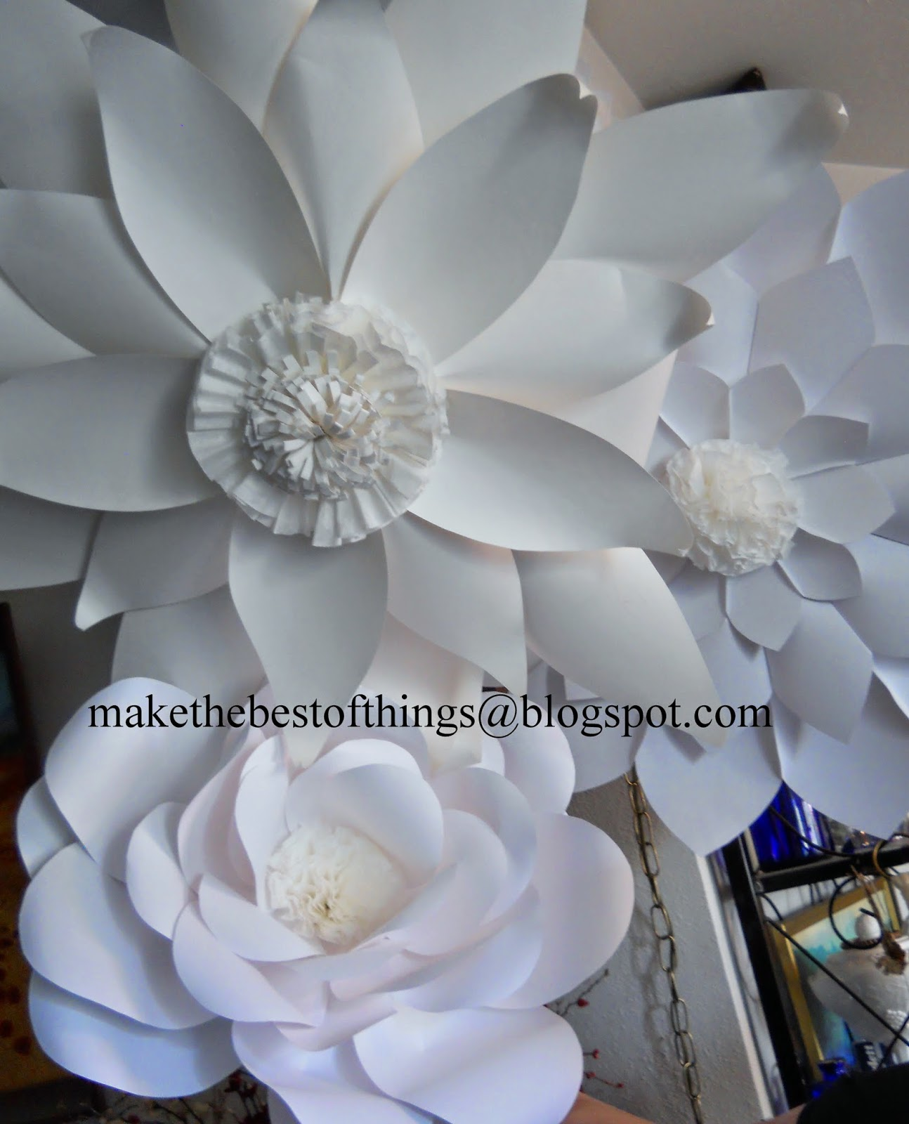 Make the best of things huge flowers for a boho wedding here are the first three flowers hung together see how the paper she used has different shades of white we liked that sweet serendipity mightylinksfo