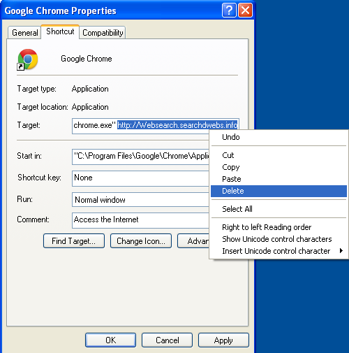 Malicious properties shortcut Websearch.searchdwebs.info