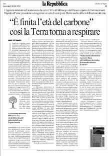 E' FINITA L'ETA' DEL CARBONE COSI' LA TERRA TORNA RESPIRARE