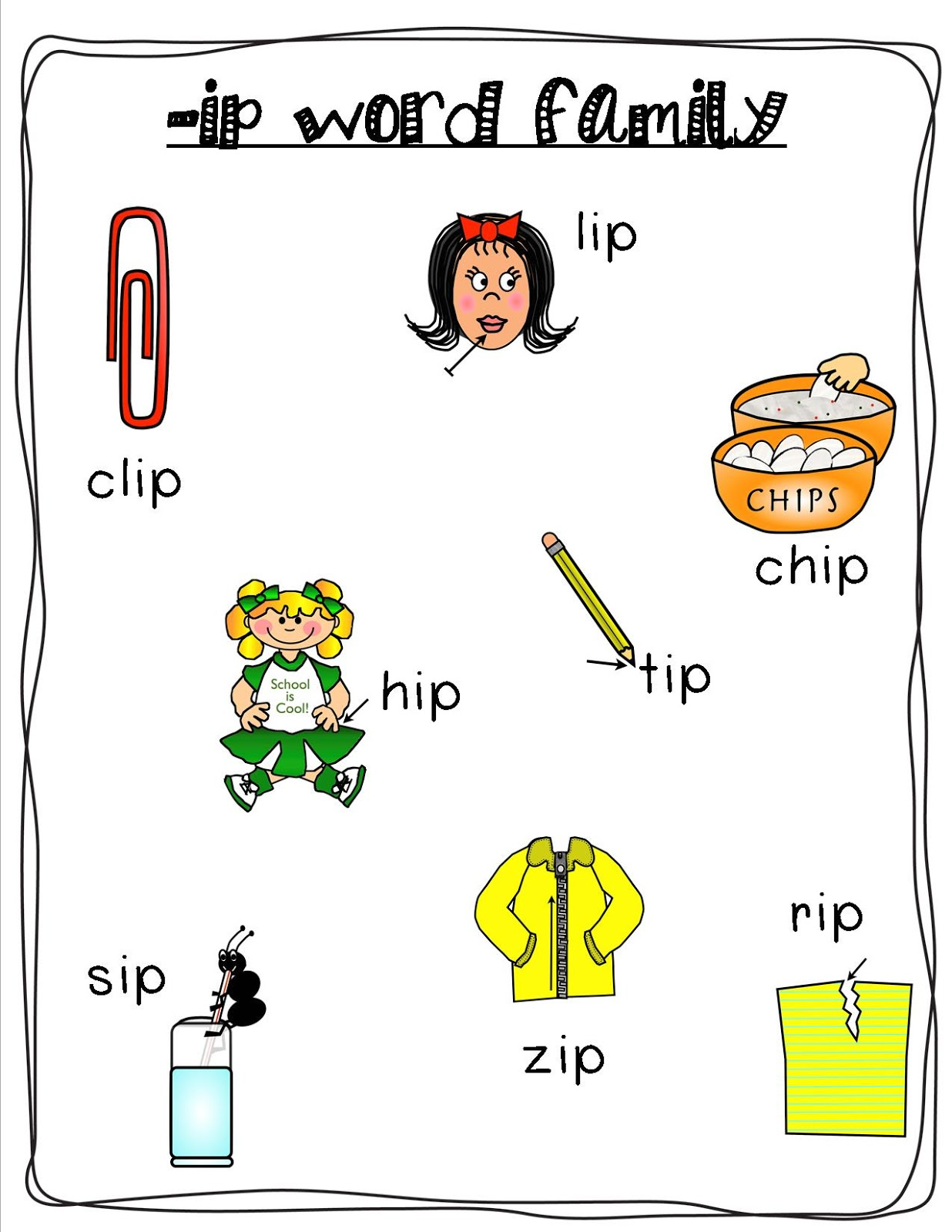 Mrs. Bohaty's Kindergarten Kingdom: -ip word family