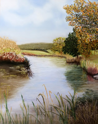 landscape, by the river, painting, pastel painting, trees, autumn, reflections, grasses, by the river prints, by the river greeting cards, pastel landscape, pastel river painting, original river pastel painting, for sale