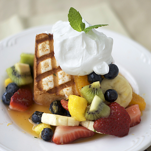 honey fruit salad with grilled angel food cake