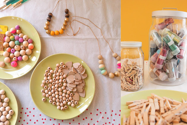 wooden bead necklace and glitter clothespins