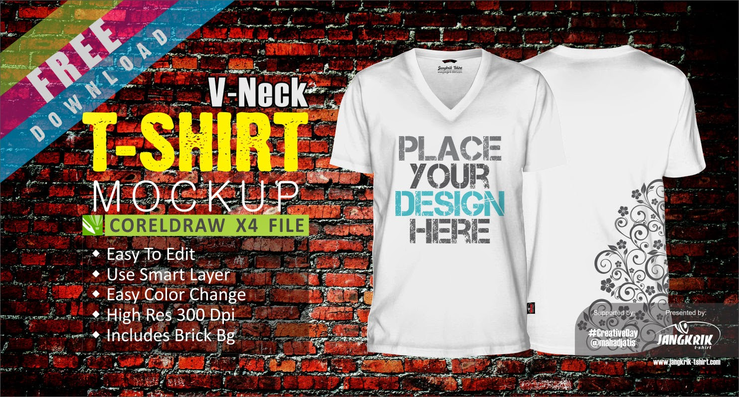 Download template kaos v neck cdr