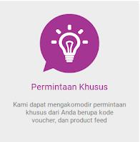 Blibli dapat mengakomodir permintaan khusus dari kita berupa kode voucher dan product feed