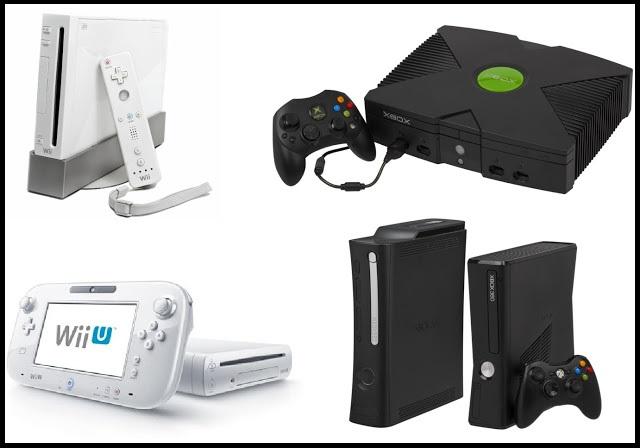 Wii, original Xbox, Wii U, and Xbox 360 consoles